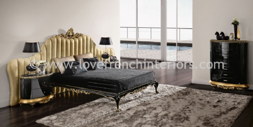 Venezia Bedroom Collection in Black and Gold Leaf